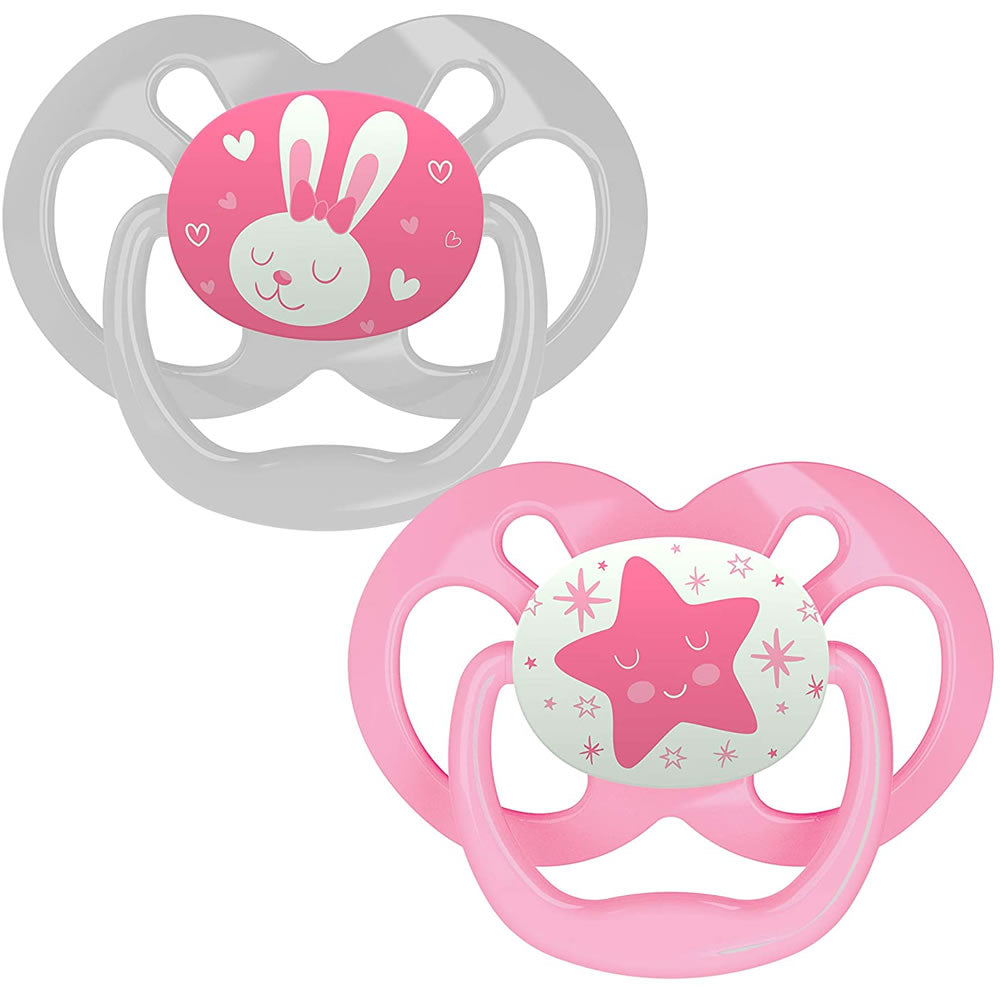 Dr. Brown's Advantage Glow-in-The-Dark Stage 2 Pacifiers, Pink