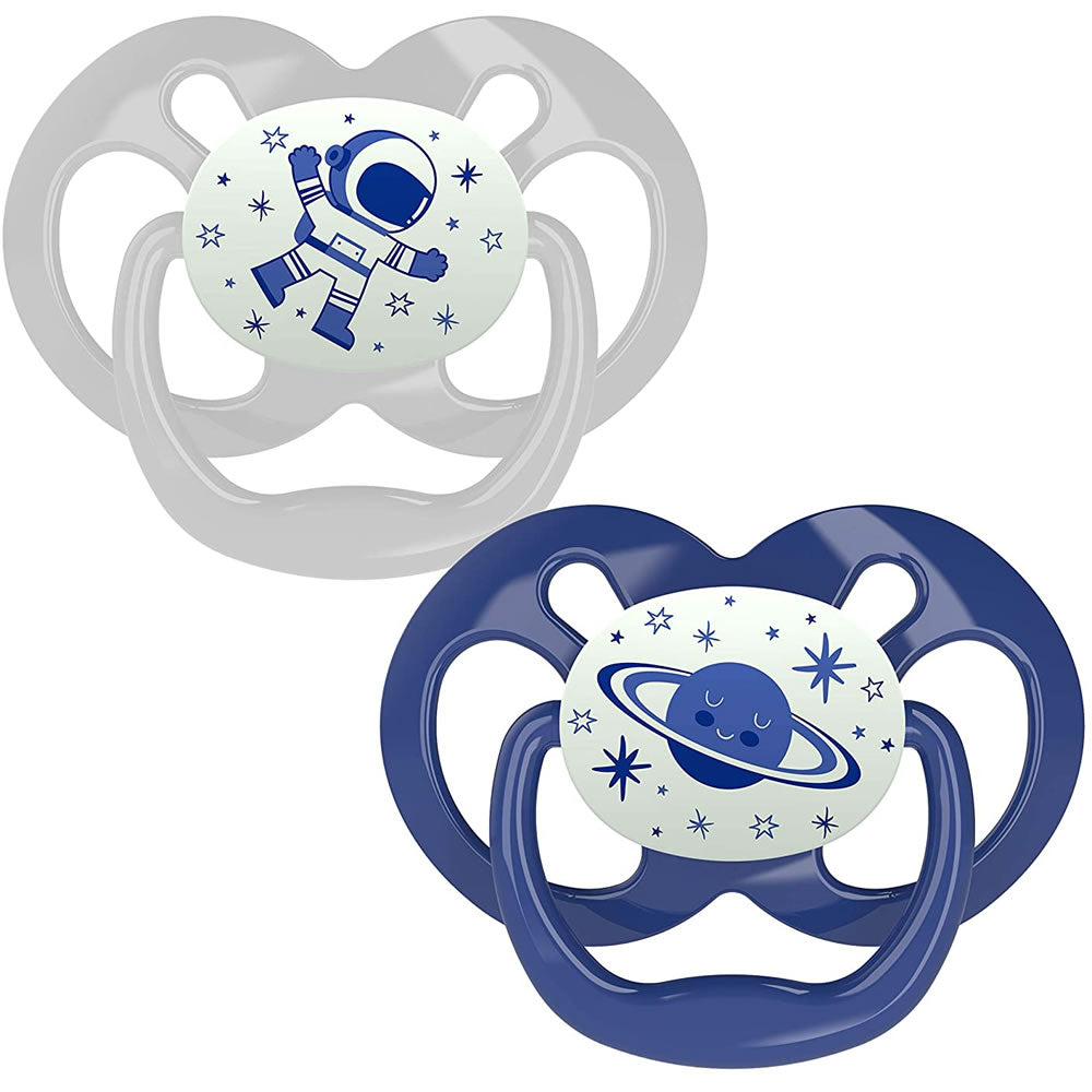 Dr. Brown's Advantage Glow-in-The-Dark Stage 2 Pacifiers, Blue
