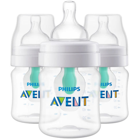 Philips AVENT 4oz Anti-Colic Bottles with AirFree Vent, Clear