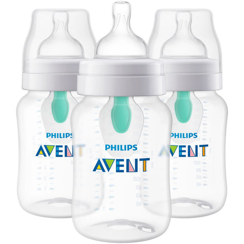 Philips AVENT 9oz Anti-Colic Bottles with AirFree Vent, Clear