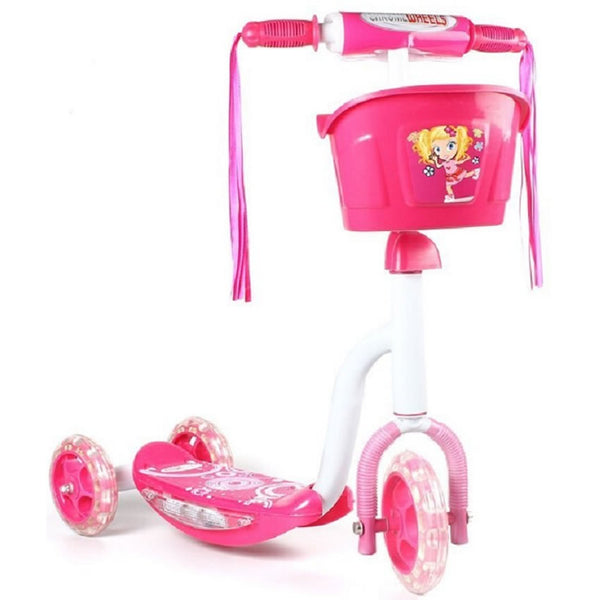 Chrome Wheels Pixie Glidekick Scooter with Basket in Pink