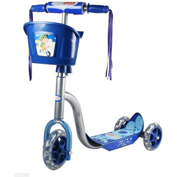 Chrome Wheels Pixie Glidekick Scooter with Basket in Blue