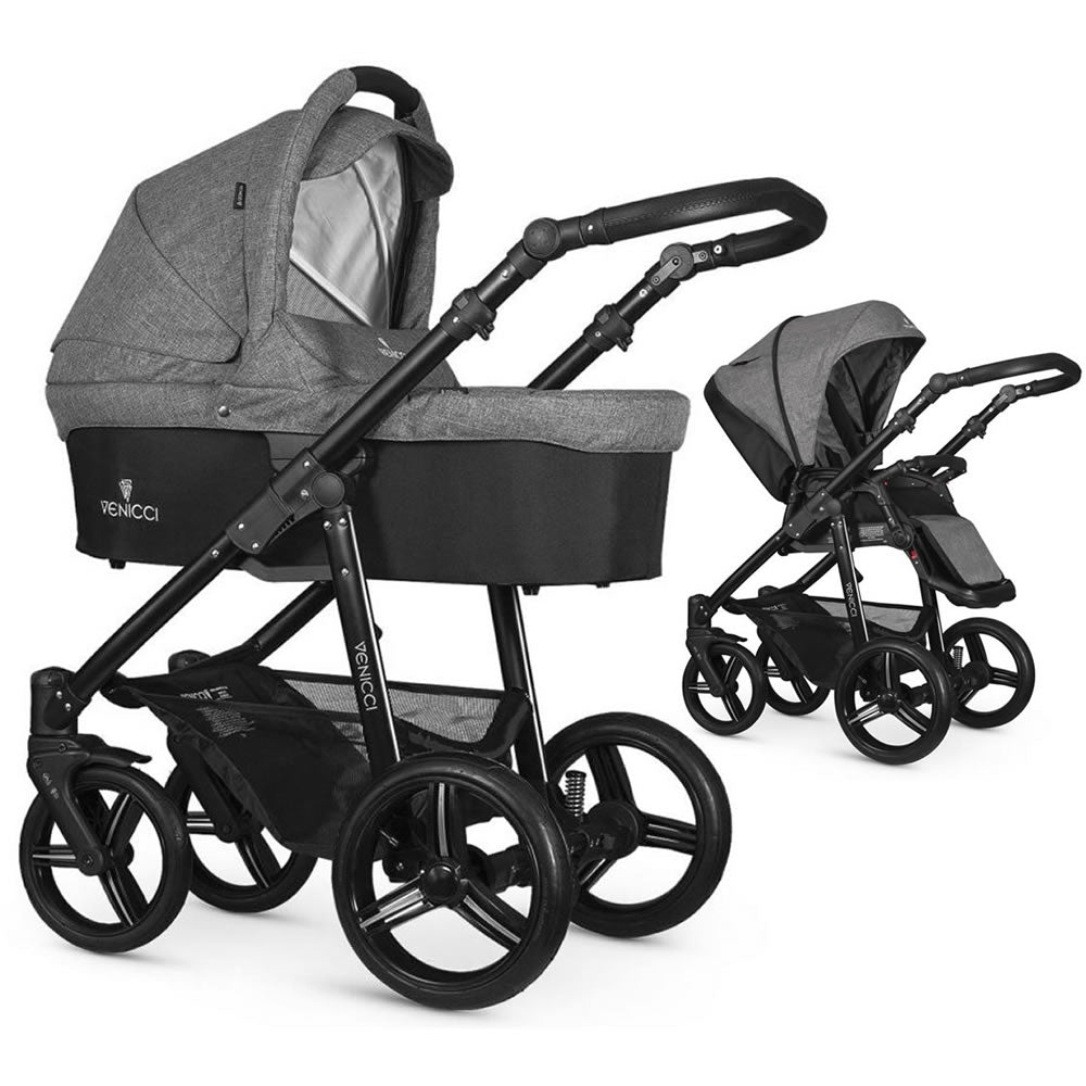 Venicci Soft Stroller with Bassinet in Denim Grey