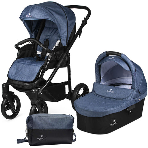 Venicci Soft Stroller with Bassinet in Denim Blue