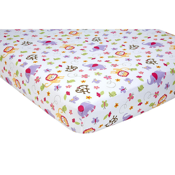 Little Bedding Fitted Crib Sheet, Tumble Jungle