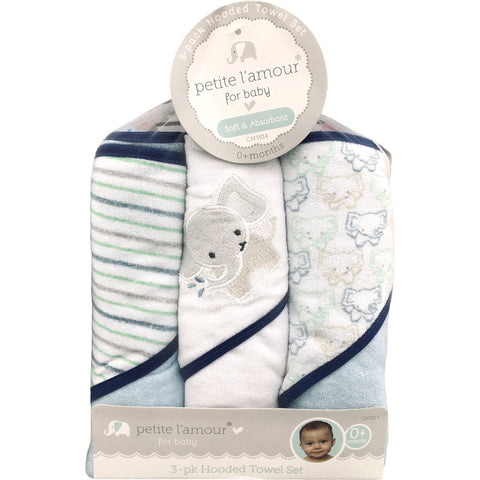 Petite L'amour 3 Pack Soft Hooded Towel Set, Elephant
