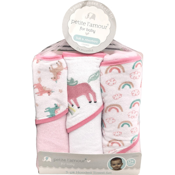 Petite L'amour 3 Pack Soft Hooded Towel Set, Unicorn