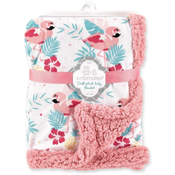 Cribmates Soft Plush Baby Blanket - Pink Flamingo