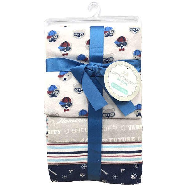 Petite L'amour 4-Pack Flannel Receiving Blankets - Bears