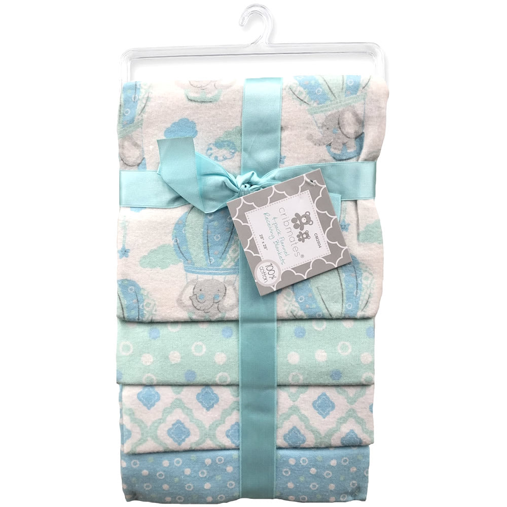 Cribmates 4-Pack Flannel Receiving Blankets - Little Elephant