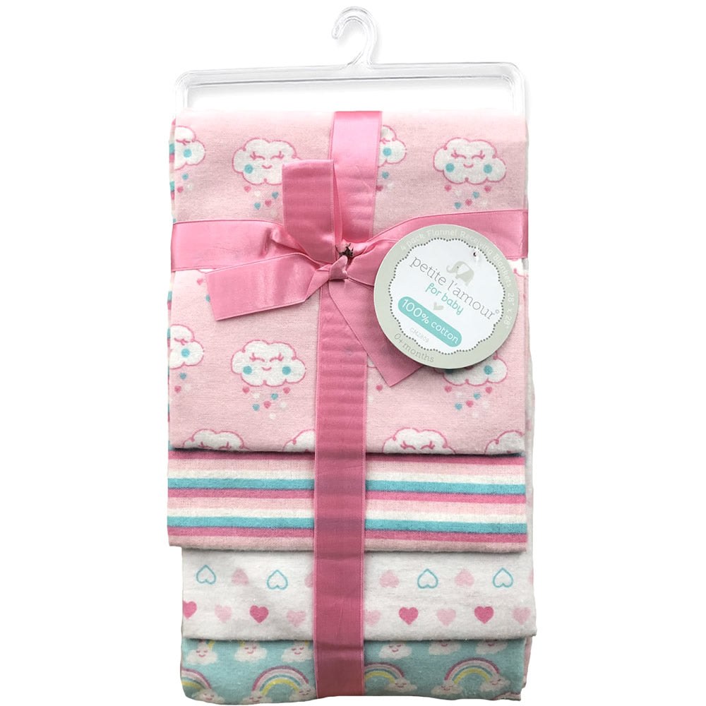 Petite L'amour 4-Pack Flannel Receiving Blankets - Pink Clouds