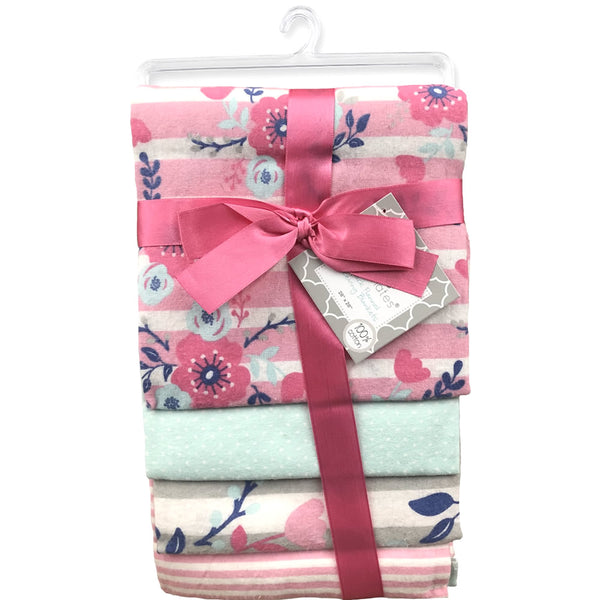 Cribmates 4-Pack Flannel Receiving Blankets - Flowers