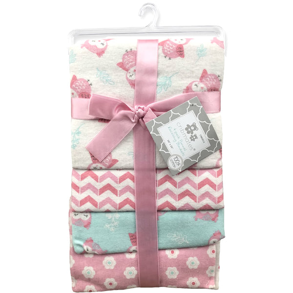 Cribmates 4-Pack Flannel Receiving Blankets - Little Owls