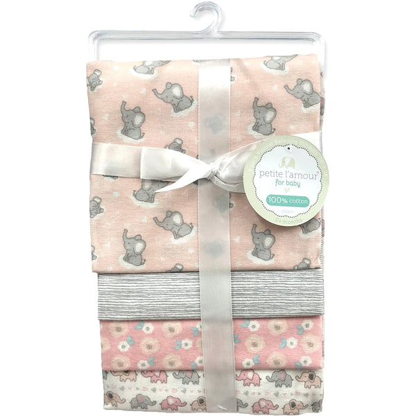 Petite L'amour 4-Pack Flannel Receiving Blankets - Elephant