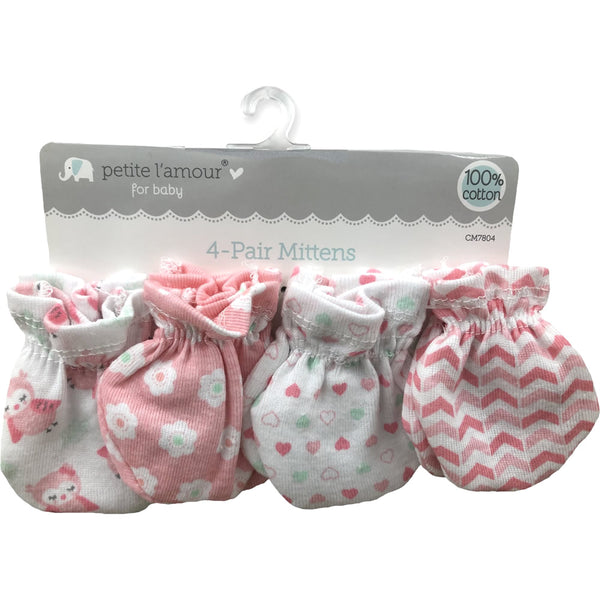 Petite L'amour 4 Pack Scratch Mittens - Pink Owl