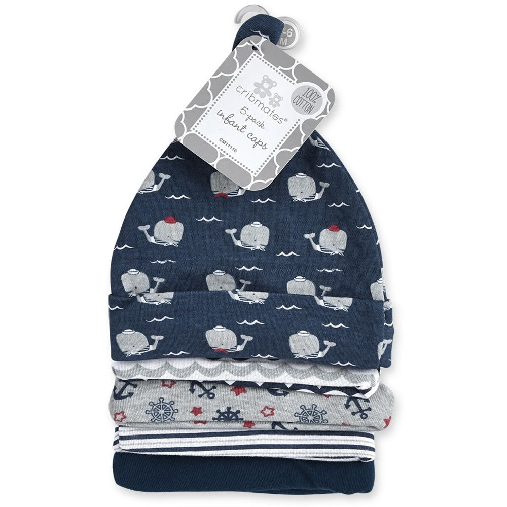 Cribmates Infant Baby Caps 0-6 Months - 5 Pack, Blue Whales
