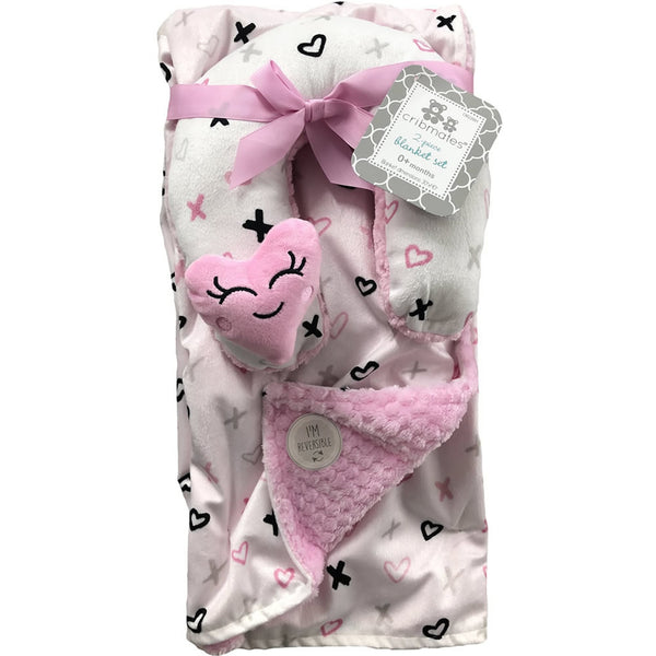 Cribmates Soft Plush Blanket with Travel Pillow - Pink Heart