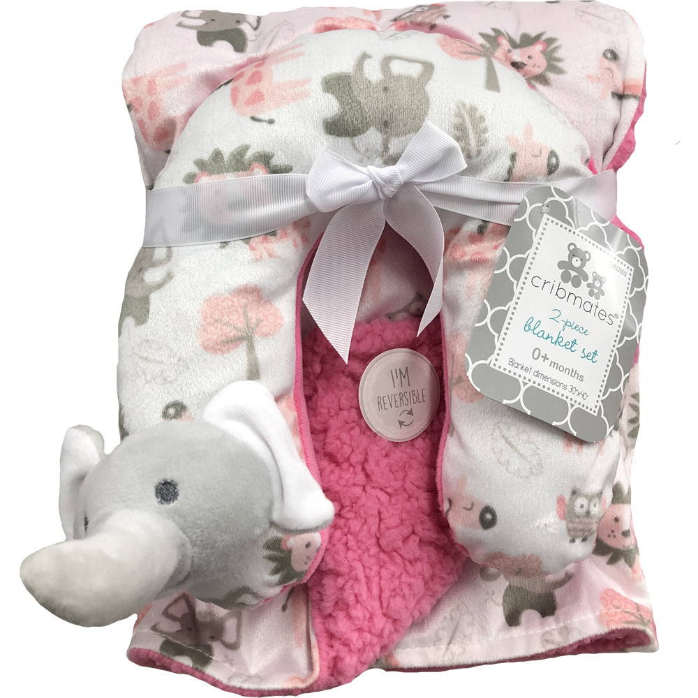 Cribmates Soft Plush Blanket with Travel Pillow - Pink Elephant