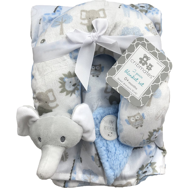 Cribmates Soft Plush Blanket with Travel Pillow - Blue Elephant