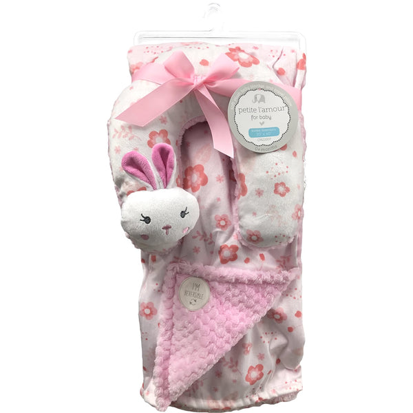 Petite L'amour Soft Plush Blanket with Travel Pillow - Baby Bunny