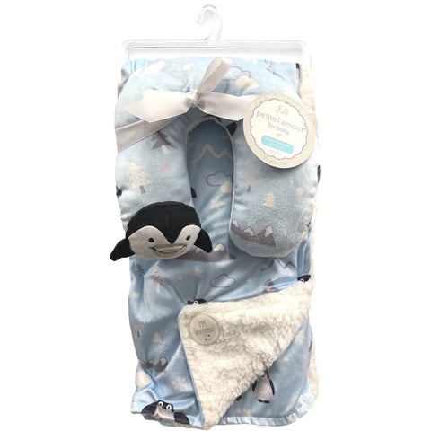 Petite L'amour Soft Plush Blanket with Travel Pillow - Blue Penguin