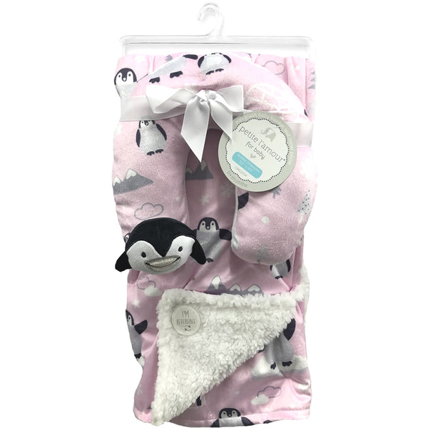 Petite L'amour Soft Plush Blanket with Travel Pillow - Pink Penguin