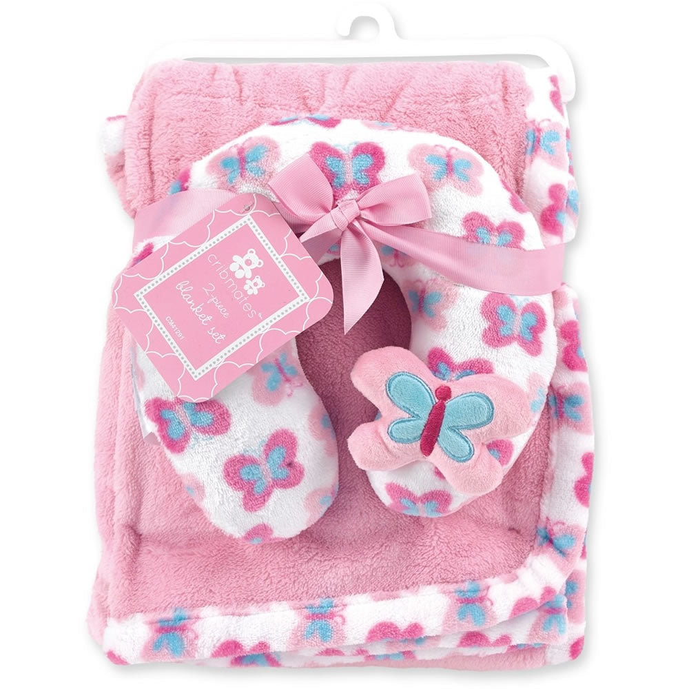 Cribmates Soft Plush Blanket with Travel Pillow - Butterfly
