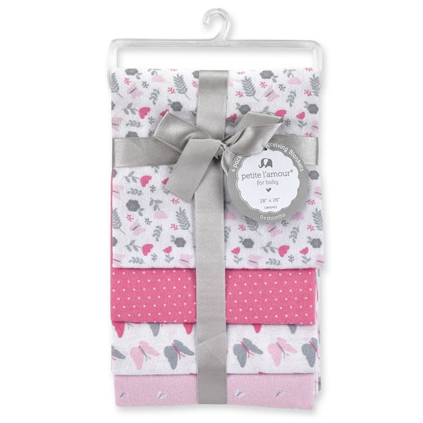 Petite L'amour 4-Pack Flannel Receiving Blankets - Flower with Butterfly