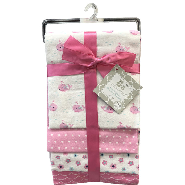 Cribmates 4-Pack Flannel Receiving Blankets - Pink Whale