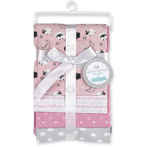 Petite L'amour 4-Pack Flannel Receiving Blankets - Pink Lambs