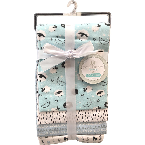 Petite L'amour 4-Pack Flannel Receiving Blankets - Blue Lambs