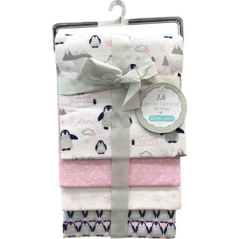 Petite L'amour 4-Pack Flannel Receiving Blankets - Pink Penguin