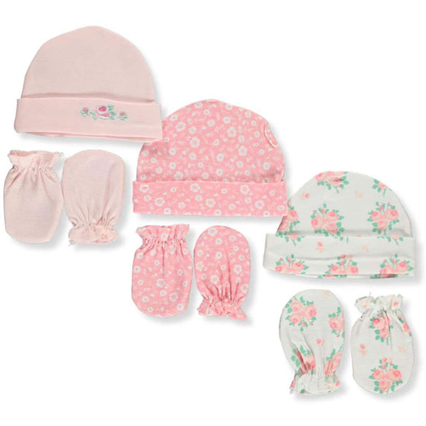 Petite L'amour Baby Girls Caps & Scratch Mittens Set