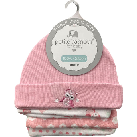 Petite L'amour Infant Baby Caps 0-6 Months - 5 Pack, Pink Owl