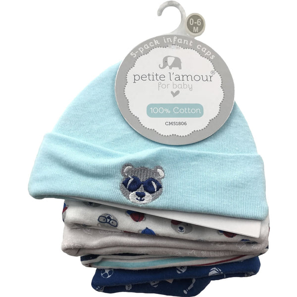 Petite L'amour Infant Baby Caps 0-6 Months - 5 Pack, Baby Bear