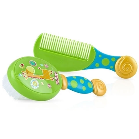 Nuby Comfort Grip Comb & Brush - Green/Blue