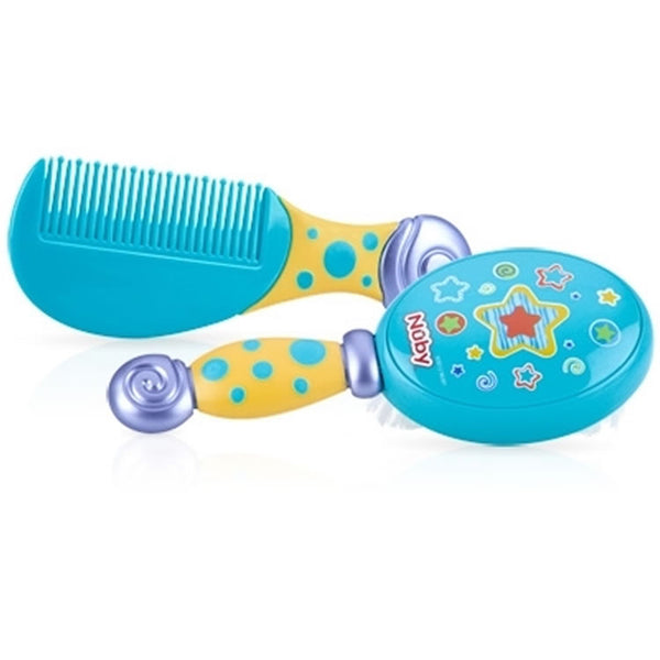 Nuby Comfort Grip Comb & Brush - Blue/Yellow