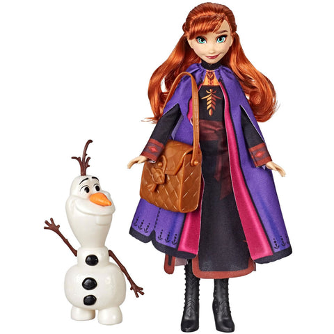 Disney Frozen Anna Doll with Buildable Olaf Figure & Satchel Accessory