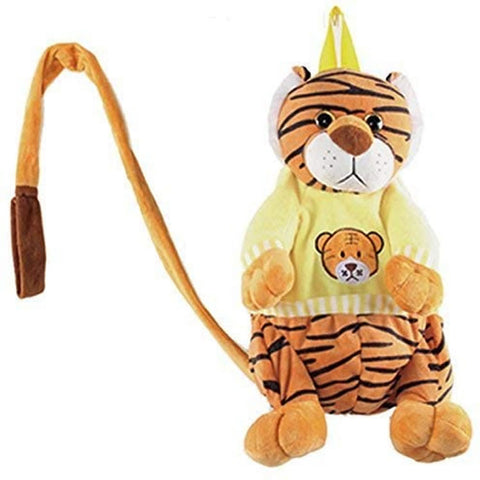 "Calplush 14"" Cute Animal Backpack Pals with Leash Bag, Tiger"