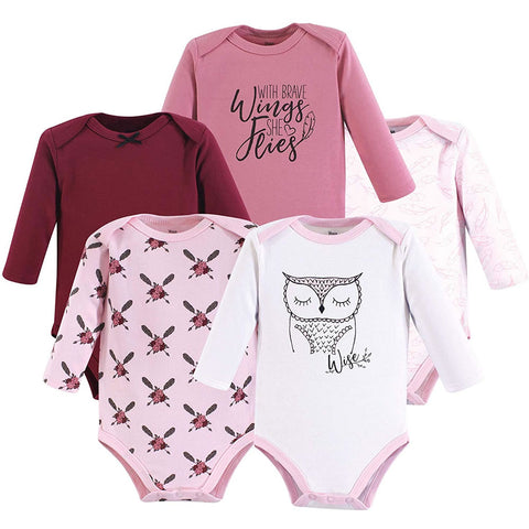 Yoga Sprout 5 Long Sleeve Bodysuits - Owl, Small