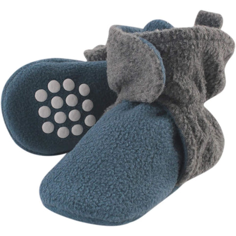 Luvable Friends Fleece Booties, Coronet Blue Heather Charcoal