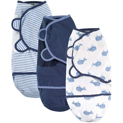 Hudson Baby 3 Pack Swaddle Wraps - Boy Whales