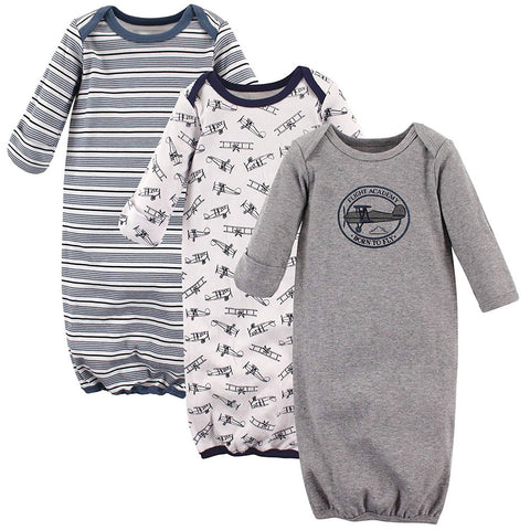 Hudson Baby 3 Pack Gowns - Aviator