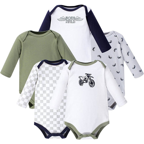 Hudson Baby Baby Cotton Bodysuits - Small, Dirt Bike