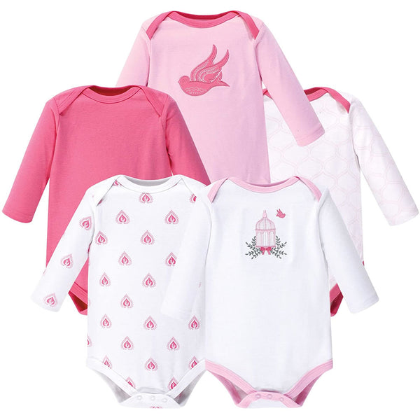Hudson Baby Baby Cotton Bodysuits - Small, Bird Cage