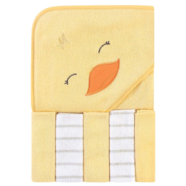 Hudson Baby Hooded Towel & Five Washcloths, Yellow Duck
