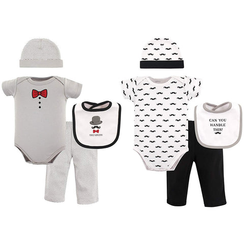 Hudson Baby Newborn Baby 8-Piece Grow with Me Gift Set - Perfect Gentleman