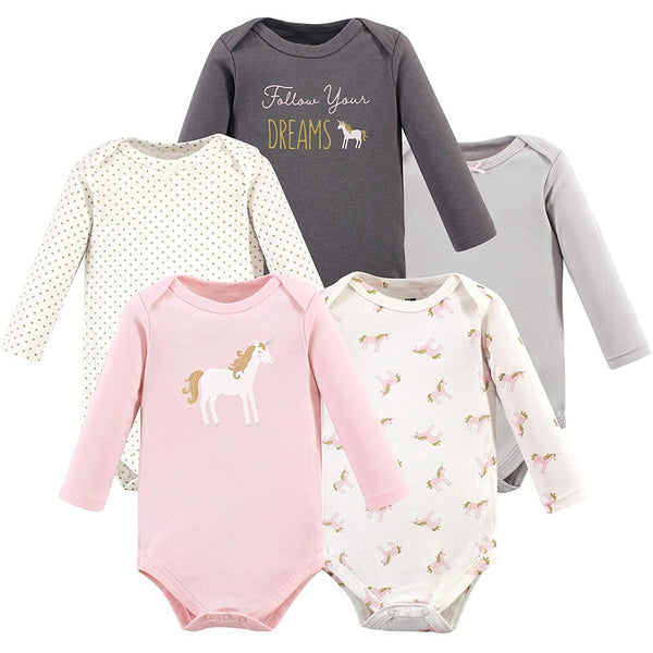 Hudson Baby Baby Cotton Bodysuits - Small, Gold Unicorn