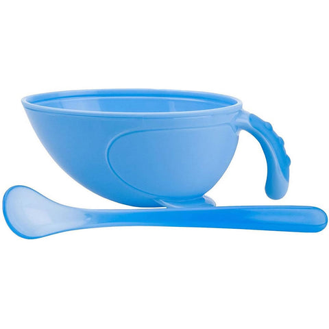 Nuby Non-Skid Comfort Grip Feeding Bowl with Lid Handle and Spoon, Blue