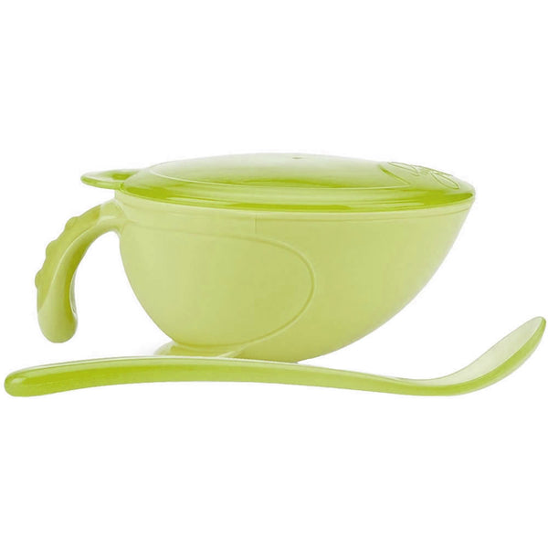 Nuby Non-Skid Comfort Grip Feeding Bowl with Lid Handle and Spoon, Green